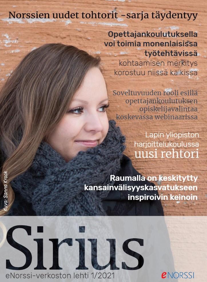 Kuvassa on Sirius-lehden kansi. Kannessa on esillä lehden otsikot sekä kuva Sanna Pirttilehdosta.